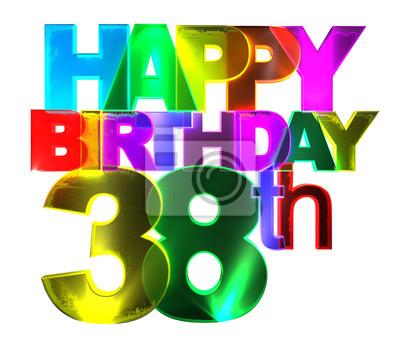 Alles Gute Zum Geburtstag Bunte 3d Buchstaben 38 Weiß
