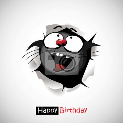Alles Gute Zum Geburtstag Katze Lacheln Lustig Grusse Wandposter