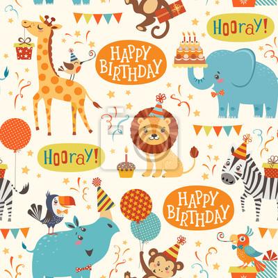 Alles Gute Zum Geburtstag Tiere Muster Wandposter Poster Hurra
