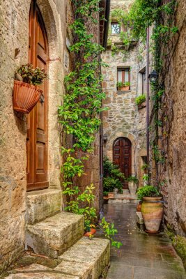 Poster Alley in old town Pitigliano Tuscany Italy