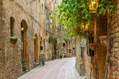 Poster Alley in old town San Gimignano Tuscany Italy