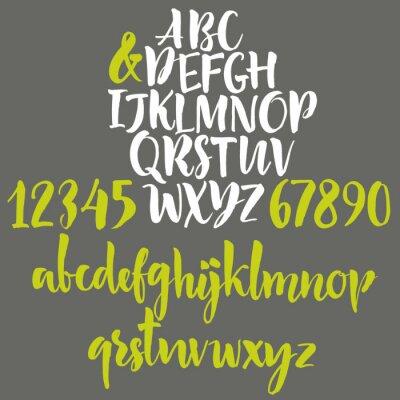 Poster Alphabet Buchstaben: Kleinbuchstaben, Großbuchstaben und Zahlen.