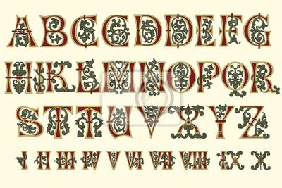 Alphabet mittelalterliche und römische Ziffern des elften Jahrhunderts