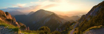 Poster alpine landscape panorama in the evening, herzogstand mountain