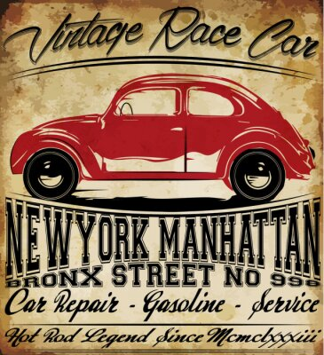 Poster Alte Auto-Weinlese-klassischer Retro Mann T-Shirt Grafikdesign
