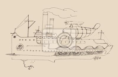 alte Dampfer mit Luftschiff, Jahrgang eingraviert Illustration