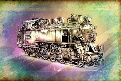 Poster alte Dampflokomotive Motor, Retro, Vintage