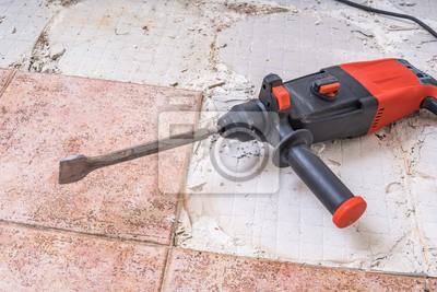 Alte Fliesen Entfernen Jackhammer Bohrender Abbruchhammer