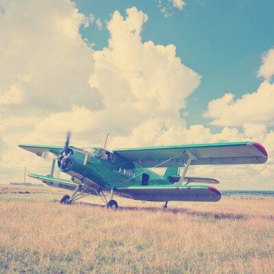 Poster Alte Flugzeug auf grünem Gras