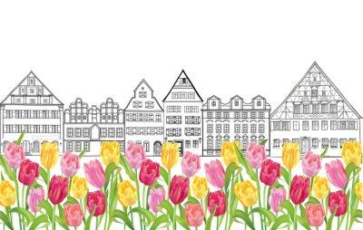 Poster Alte Gebäude und Häuser in Amsterdam mit Blume Tulpen Gasse.