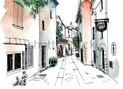 Poster Alte gezeichnete Skizzenart der Stadtstraße in der Hand. Vektor-Illustration Kleine europäische Stadt. Frankreich. Stadtlandschaft auf buntem Hintergrund des Aquarells