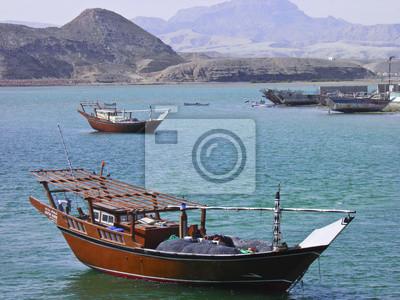 Alte Holzschiff im Hafen von Sur, Sultanat Oman