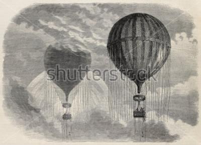 Poster Alte Illustration eines merkwürdigen optischen Phänomens während des Aufstiegs in der Luftfahrt in Paris, 15. April 1868. Erstellt von Blanchard und Cosson-Smeeton, veröffentlicht am L'Illustratio