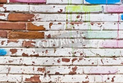 Poster Alte Mauer von Graffiti fill