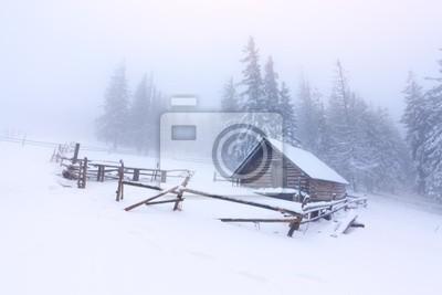 alten Bauernhof in den Bergen im Winter