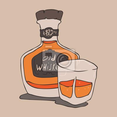alten Whisky Vektor-Illustration, Whisky-Flasche und Glas