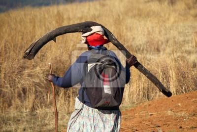 Ältere Frau mit einem großen Ast auf den Kopf