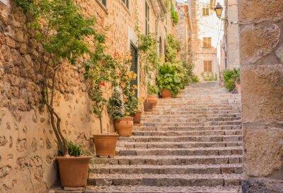 Poster Altes Dorf Gasse Treppe Mediterran