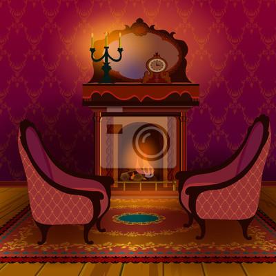 Altes englisches viktorianisches wohnzimmer. innenraum mit kamin ...