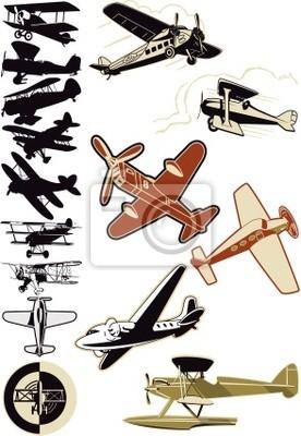 altes Flugzeug und Doppeldecker Sammlung