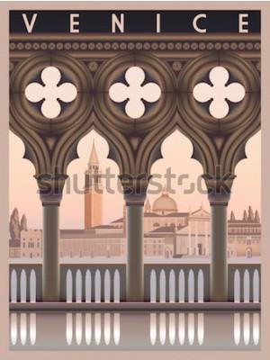 Poster Am frühen Morgen in Venedig, Italien. Reise- oder Postkartenvorlage. Alle Gebäude sind unterschiedliche Objekte. Handgemachte Zeichnungsvektorillustration. Vintage-Stil.