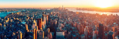 Poster Amazing aerial panoramic view of Manhattan wit sunset