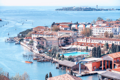 Amazing aerial view of Venice buildings and skyline along the canals, Italy