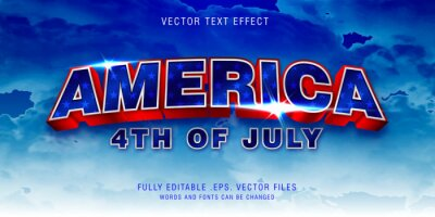 Poster America text style effect fully editable vector