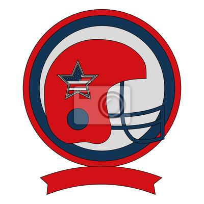 Poster American Football Helm Sport Emblem Vektor-Illustration
