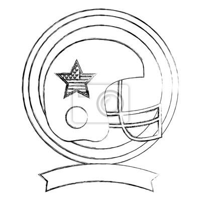 Poster American Football Helm Sport Emblem Vektor Illustration Skizze