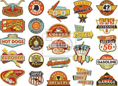 Poster Amerikanischen Vintage-Läden Schilder Sammlung