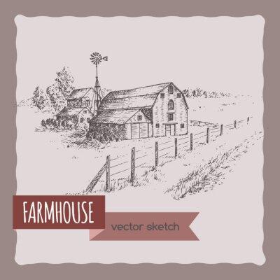 Poster Amerikanisches Bauernhaus, Scheune und Weide Vektor Skizze.