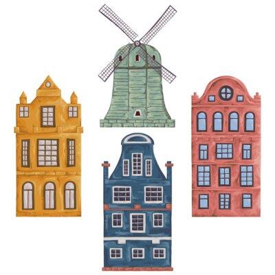 Amsterdam. Alte historische Gebäude und traditionelle Architektur der Niederlande. Windmühle und Häuser. Isolierte Elemente. Vintage Hand gezeichnet Vektor-Illustration in Aquarell-Stil.