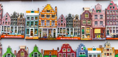 AMSTERDAM - APRIL 3, 2013: Amsterdam typical gifts, classic homes of Holland in miniature