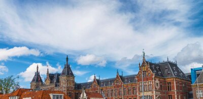 AMSTERDAM - APRIL 30, 2013: Beautiful exterior architecture of Central Station