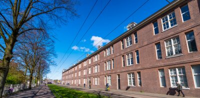 AMSTERDAM - APRIL 30, 2013: Wonderful architecture and vegetation of Amsterdam in spring season