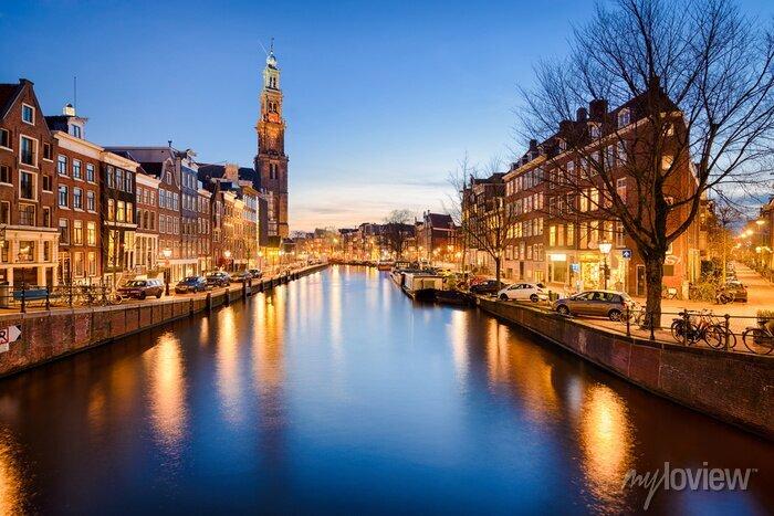 Poster Amsterdam bei Nacht, Niederlande