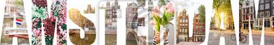 Poster AMSTERDAM Briefe gefüllt mit Bildern von berühmten Orten und Stadtansichten in Amsterdam, Niederlande