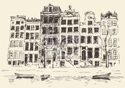 Amsterdam city architecture, vector illustration