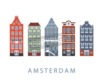 Amsterdam city buildings set. Netherlands. Facades of traditional Dutch houses, isolated on white, flat style. illustration