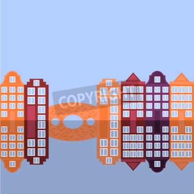 Amsterdam city flat art. Travel landmark, architecture of netherlands, Holland houses, european building isolated bridge and river,