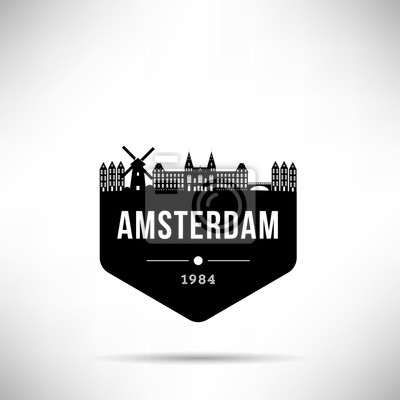 Amsterdam City Modern Skyline Vector Template