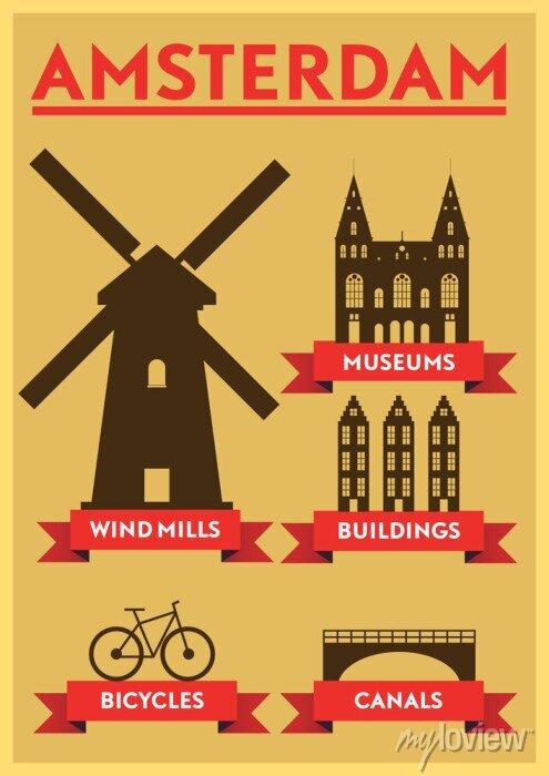 Poster Amsterdam City Typography Design