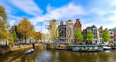 Poster Amsterdam, Holland: Frühling sonniger Tag in der Stadt