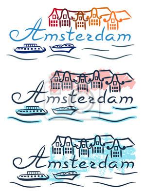 Amsterdam houses boats Netherlands sketch with color pencil and felt-tip pen grunge vector illustration