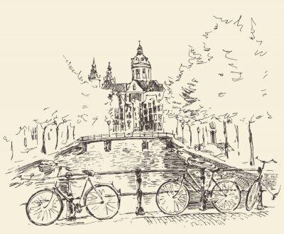 Amsterdam Jahrgang Gravierte Darstellung Hand gezeichnet