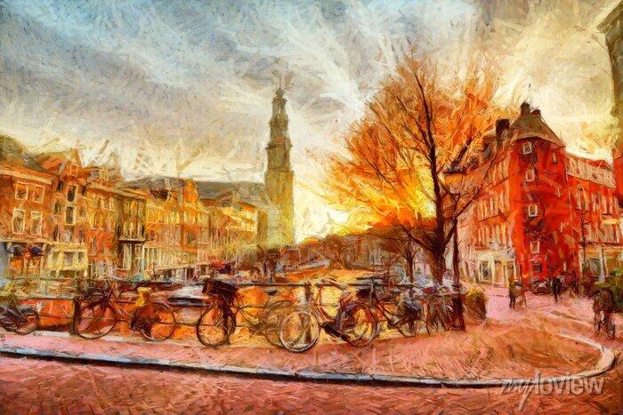 Poster Amsterdam-Kanal am Abend impressionistischen Malerei