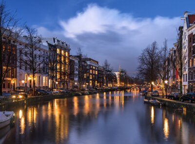 Amsterdam Kanal Keizersgracht am Abend