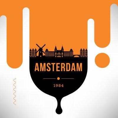 Amsterdam Modern Web Banner Design with Vector Linear Skyline