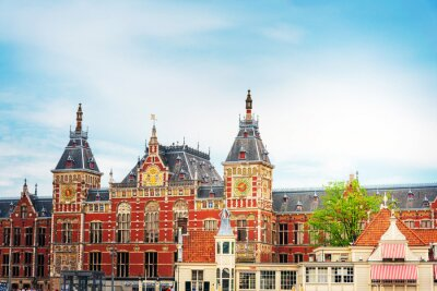 Amsterdam, Netherlands - May 23, 2018 : Beautiful street view of Traditional old buildings in Amsterdam,Netherlands